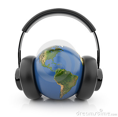Earth globe with black audio headphones 3D