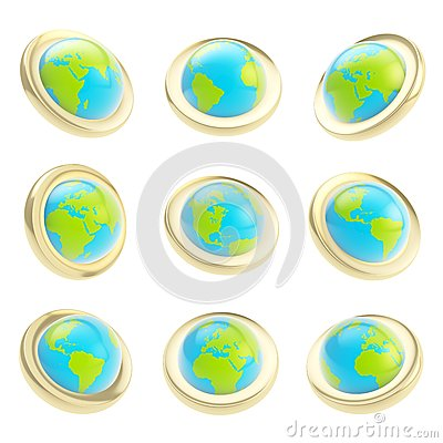 Earth globe emblem tag in nine foreshortening