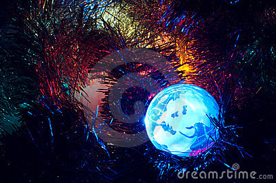 Earth globe Europe with Christmas background blue