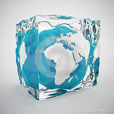 Free Earth Globe Frozen In Ice Cube Stock Photography - 40424192
