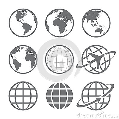 Free Earth Globe Icon Set Stock Images - 46475494