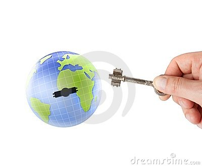 Earth globe with key