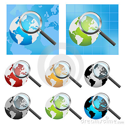 Earth globe and magnifier