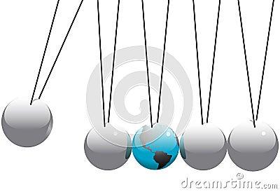 Earth Globe in Newtons Cradle Balls
