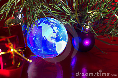 Earth globe North America Christmas background