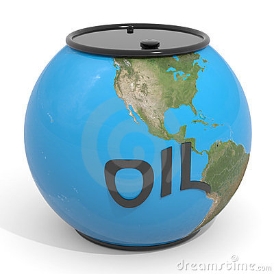 Earth globe - oil barrel.