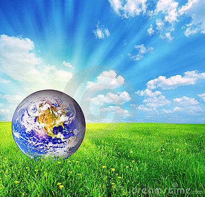Free Earth Globe On Green Grass Royalty Free Stock Images - 8495159