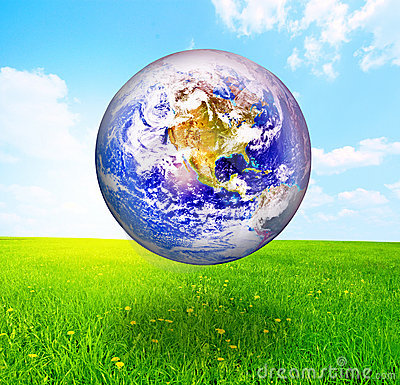 Earth globe over beautiful landscape