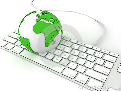 Earth globe over keyboards computer