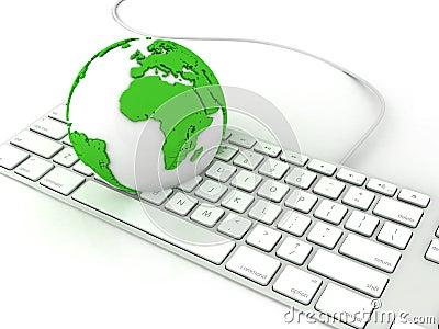Earth globe over keyboards computer