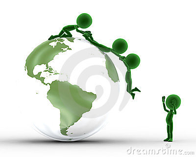 Earth globe, people support
