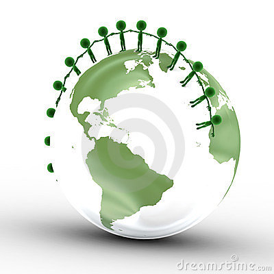 Earth globe, people together
