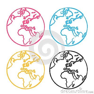 The earth globe pop art