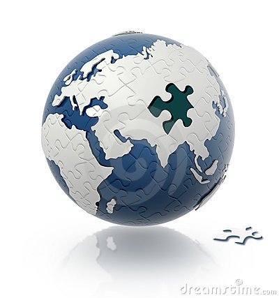 Earth globe with puzzle pattern.