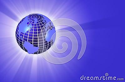 Earth Globe Radiating Light - Left Orientation