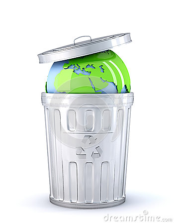 Earth globe in a recycle bin