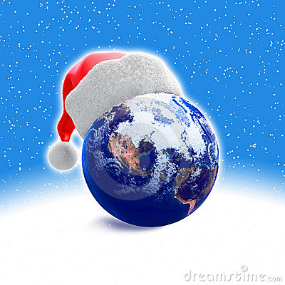 Earth globe and santa hat