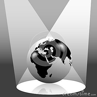 Earth Globe in Spotlight East