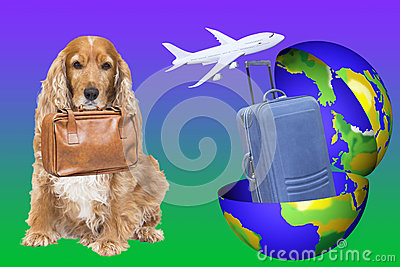 An Earth globe with a suitcase in and a dog ready to go for trip