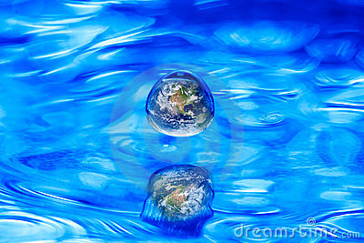 Earth globe water drop concept