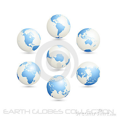Earth globes colection, white - blue