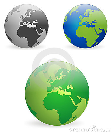 Earth globes - vectors
