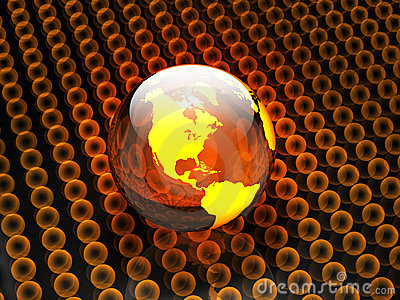 Earth and Glowing Spheres