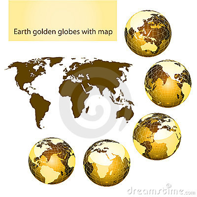 Earth golden globes with map