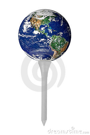 Earth on golf tee