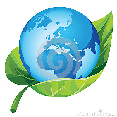 Earth with green leaf