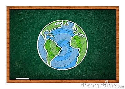 Earth on green school chalkboard