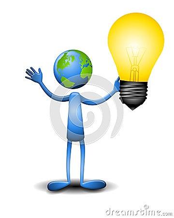 Earth Guy Holding Lightbulb