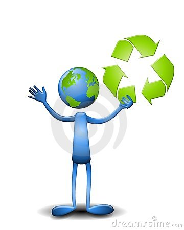 Earth Guy Holding Recycle Symbol