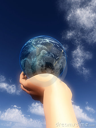 Earth In Hand In Front Of Sky 24