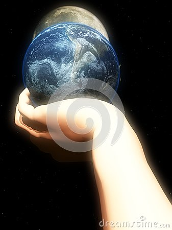 Earth In Hand At Night