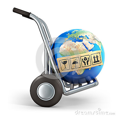 Earth and hand truck