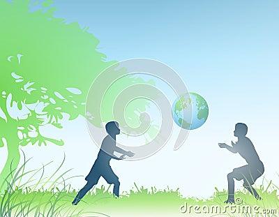 Earth in Hands of Children