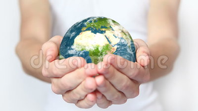 Earth in hands. Man holding planet in hands