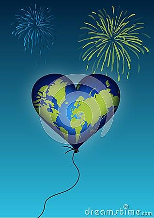 Earth heart balloon