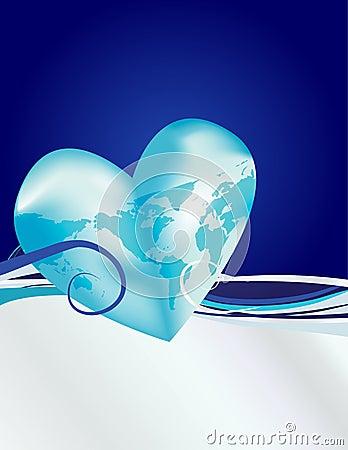 Earth Heart Blue Silver