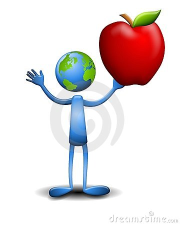 Earth Humanoid Holding Apple