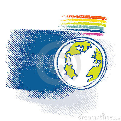 Earth icon, rainbow symbol included