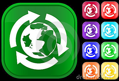 Earth icon in recycling circle