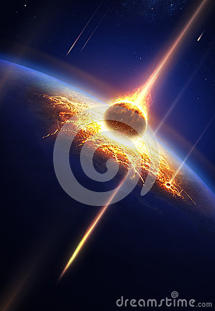 Free Earth In A Meteor Shower Royalty Free Stock Photos - 29879188
