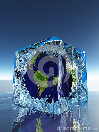 Earth inside ice cube