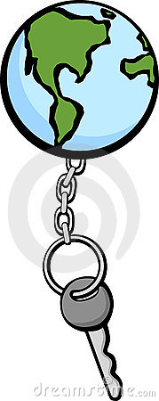 earth keychain and key vector illustration