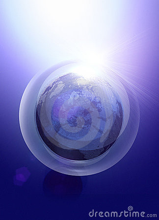 Earth like globe in security bubble