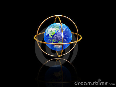 Earth with longitude and latitude rings