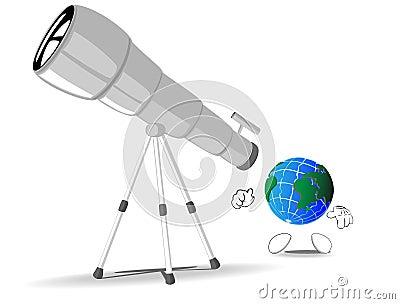 Earth looks through a telescope