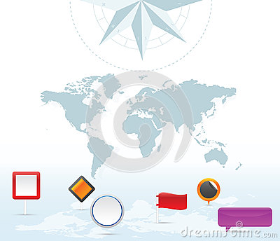 Earth map pin icons